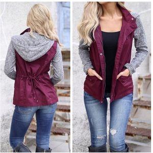 Jackets & Blazers - Burgundy Hoodie Jacket, Cotton Jacket